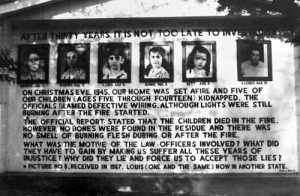 Memorial sign for the five Sodder Children