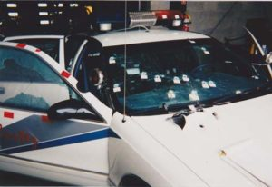 Close-up view of the front of Officer Claxton's car, picture taken by author, used with permission